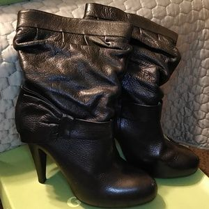 Gianni Bini Leather Bootie w/ Side Bow